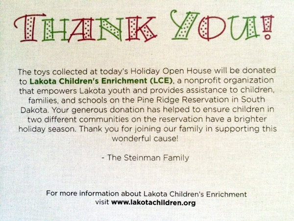 The message that greeted people as they arrived at the Steinman's annual holiday open house.